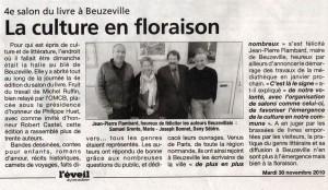 L'Éveil du 30-11-2010 au salon du livre de Beuzeville